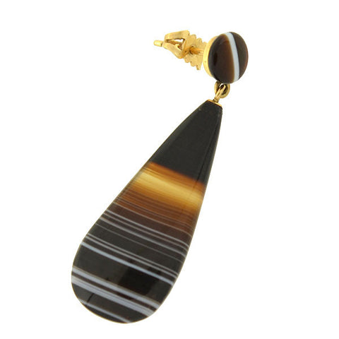 Victorian 14kt Carved Banded Agate Teardrop Earrings