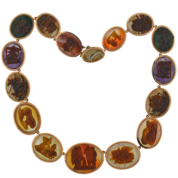 Victorian 15kt Agate & Tortoise Shell Mythology Cameo Necklace