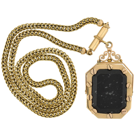 Victorian 14kt Agate Spinner Fob Locket + Braided Chain Necklace 17.25""