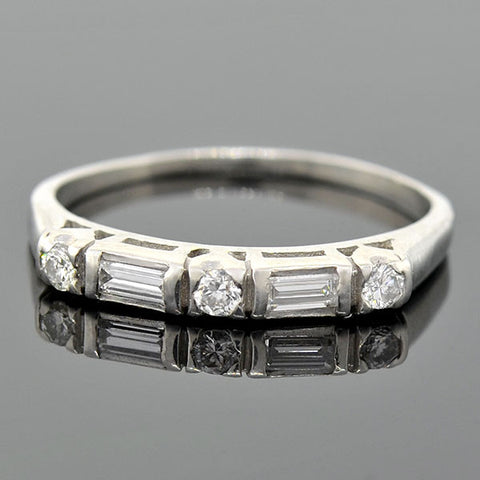 Vintage Platinum Mixed Cut Diamond Half Band 0.40ctw