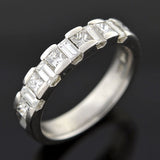 Vintage Platinum Princess & Baguette Diamond Half Band 1.50ctw