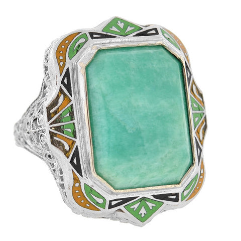 Art Deco 10kt Amazonite & Enamel Filigree Ring