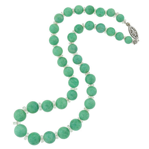 Art Deco Aventurine & Rock Quartz Crystal Bead Necklace