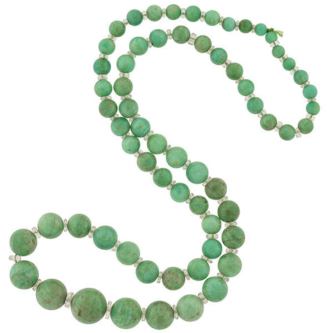 Art Deco Amazonite & Rock Quartz Crystal Bead Necklace 25""