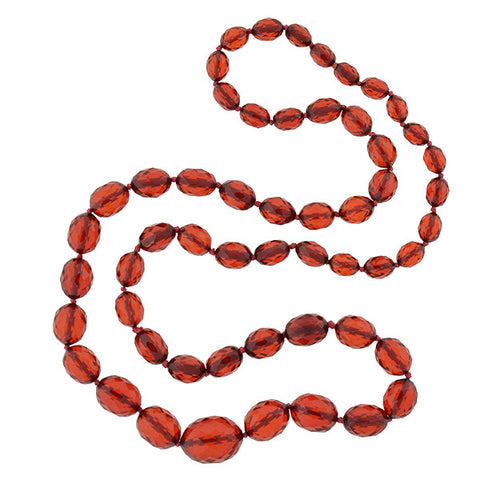 Late Art Deco Faceted Cherry Amber Bakelite Bead Necklace