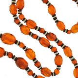 Art Deco Amber, Onyx & Rock Crystal Bead Necklace 29