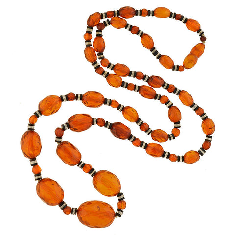 Art Deco Amber, Onyx & Rock Crystal Bead Necklace 29""