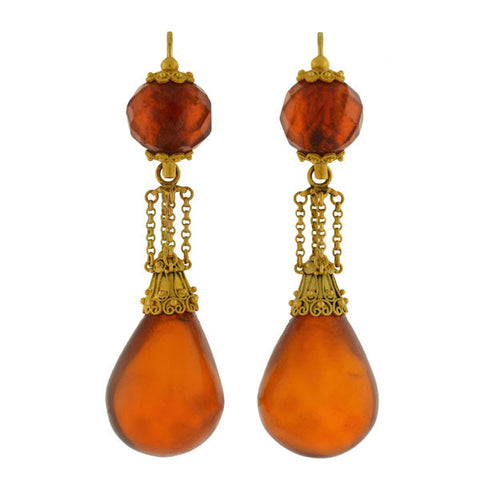 Victorian Carved Tortoise Shell Hanging Urn Earrings
