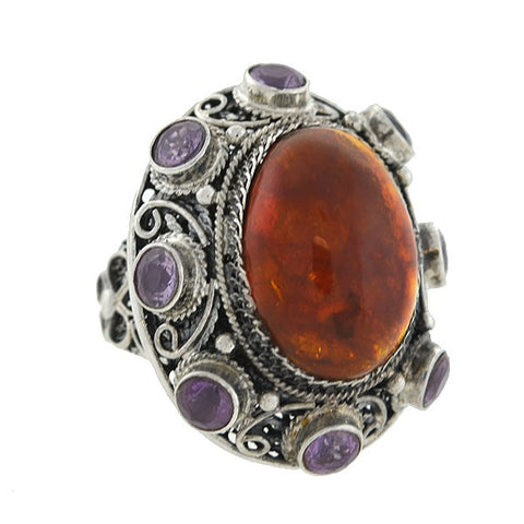 Retro Large Chinese Sterling Amber & Amethyst Cluster Ring