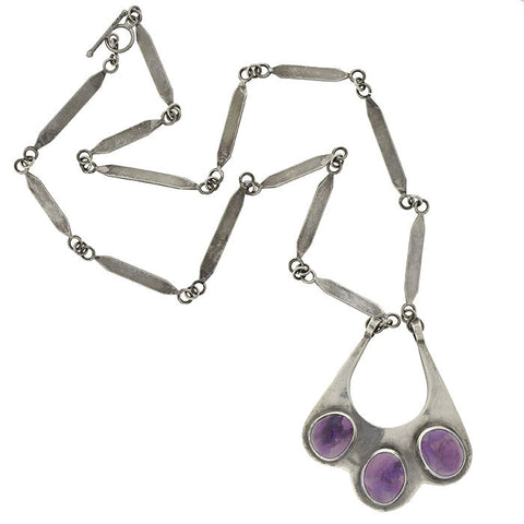Vintage Sterling & Amethyst Hand Wrought Necklace