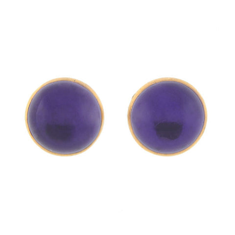 Estate 14kt Amethyst Cabochon Stud Earrings