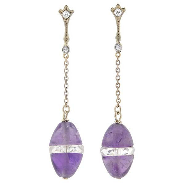 Art Deco 14kt Amethyst, Crystal & Diamond Drop Earrings