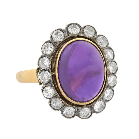 Victorian Polish 14kt/Sterling Amethyst & Diamond Ring