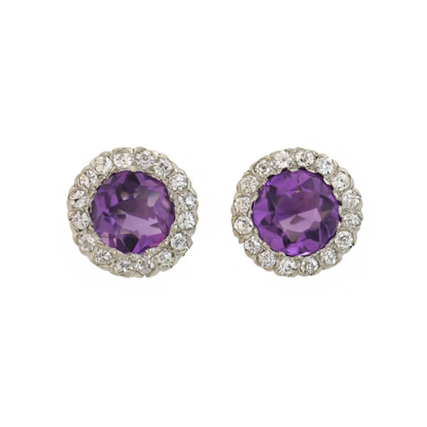 Late Art Deco 14kt Amethyst Diamond Cluster Earrings