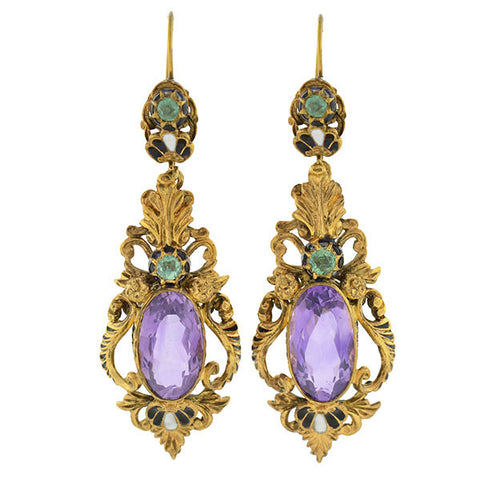 Art Nouveau Sterling Gilt Amethyst & Emerald Earrings