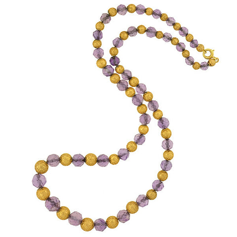 Victorian 14kt Amethyst & Etruscan Bead Necklace