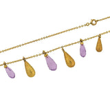 Victorian 14kt Amethyst Etruscan Teardrop Festoon Necklace