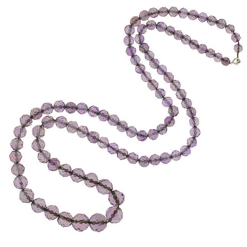 Art Deco Silver & Faceted Amethyst Bead Necklace 32""