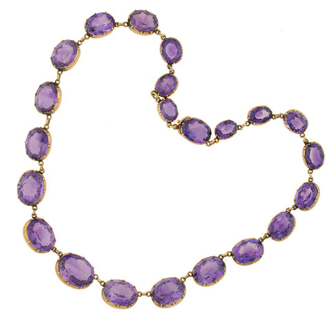 Victorian 14kt Faceted Amethyst Necklace