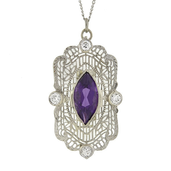Art Deco 14kt Amethyst & Diamond Filigree Necklace