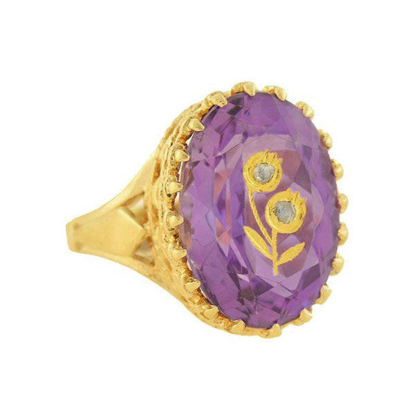Retro 14kt Inlaid Amethyst + Diamond Flower Ring