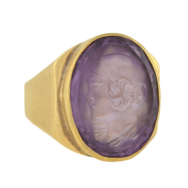 Art Deco 14k Carved Amethyst Intaglio Lady Ring