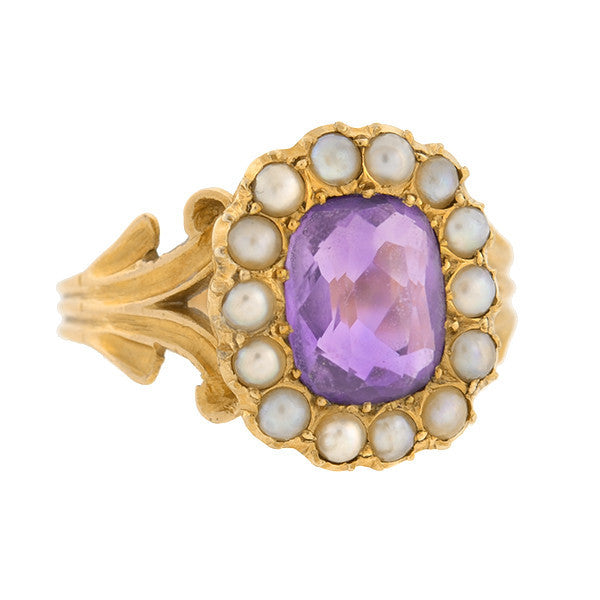 Victorian 14kt Amethyst & Seed Pearl Ring