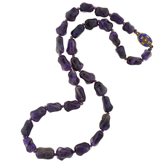 Vintage Chinese Amethyst Nugget Bead Necklace