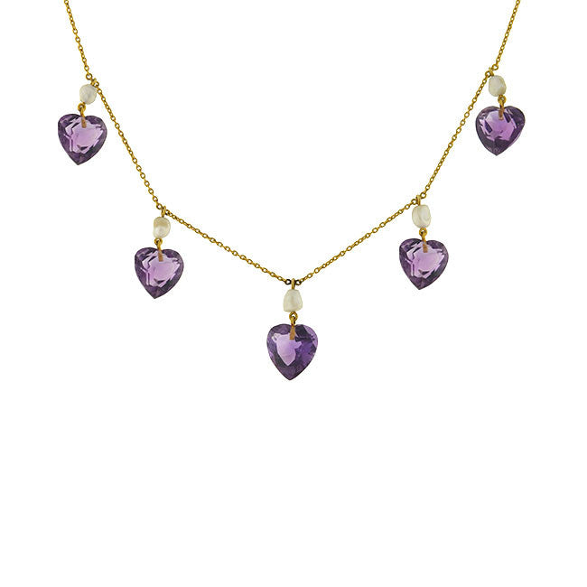 Victorian 14kt Amethyst Heart & Natural Pearl Festoon Necklace