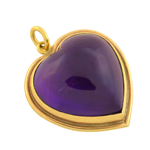 Late Victorian 15kt Carved Amethyst Heart Pendant
