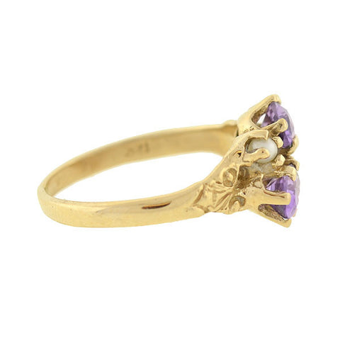 Late Victorian 14kt Amethyst & Pearl Bypass Ring