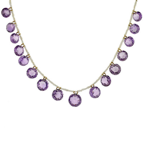 Late Victorian Seed Pearl & Amethyst Necklace