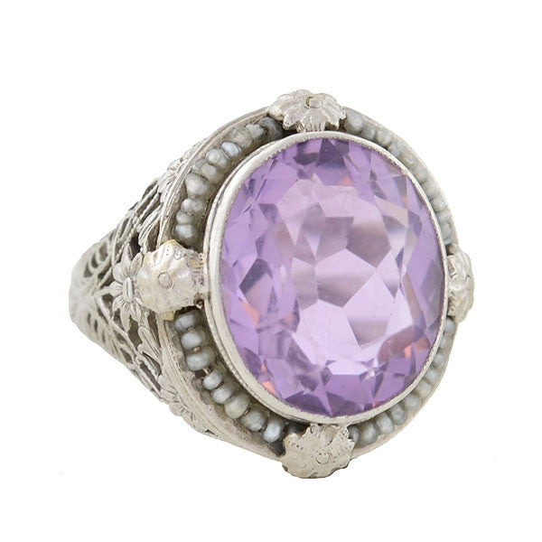 Art Deco 14kt Amethyst & Seed Pearl Filigree Ring