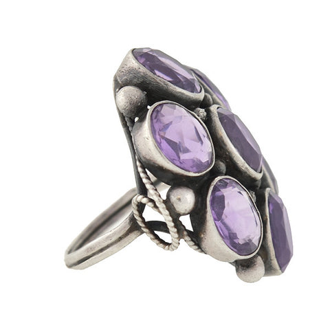 Early Retro Large Sterling Amethyst Cluster Ring