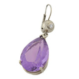 Estate 14kt Amethyst Teardrop & Diamond Earrings