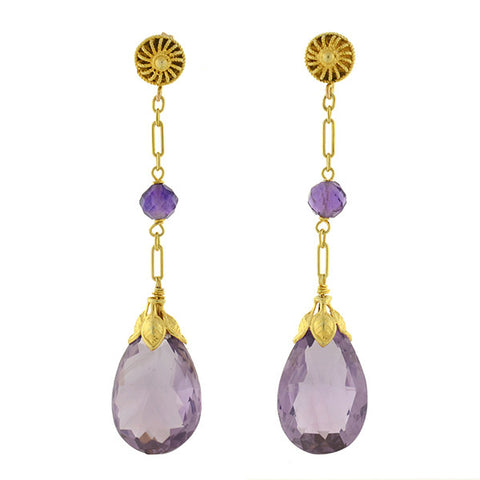 Victorian 14kt Amethyst Briolette Teardrop Earrings