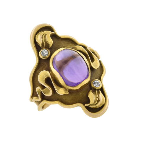 Art Nouveau 14kt Gold Amethyst + Diamond Ring