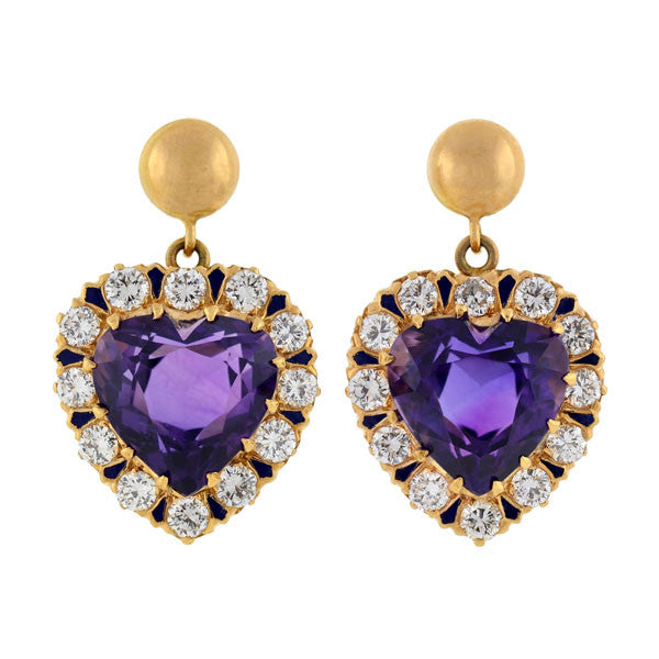 Retro Victorian Revival 14kt Diamond Amethyst Heart Earrings