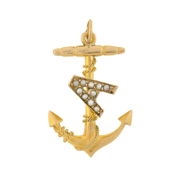 "Victorian 14kt Pearl ""A"" Anchor Pendant"
