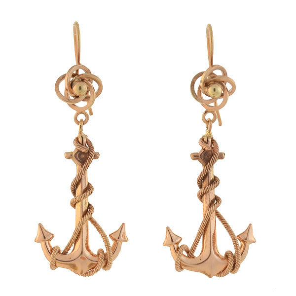 Victorian English 12kt Love Knot & Twisted Rope Anchor Earrings