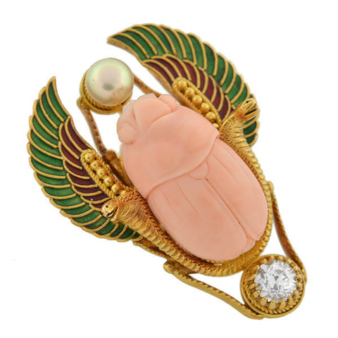 Art Nouveau 18kt Egyptian Revival Coral Pearl & Diamond Enameled Pin .30ct