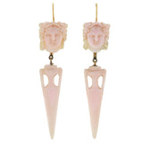 Victorian 14kt Carved Angel Skin Coral Earring/Pendant Set