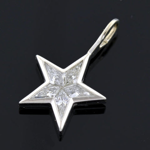 Estate Platinum Kite Diamond Star Pendant 1.00ctw