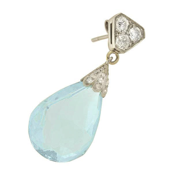 cbe238c6faabd Art Deco Platinum Diamond + Aquamarine Briolette Teardrop Earrings ...