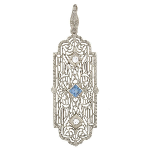 Art Deco 10kt Aquamarine & Diamond Filigree Pendant