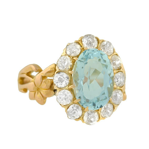 Edwardian 18kt Aquamarine & Diamond Ring 3.50ct