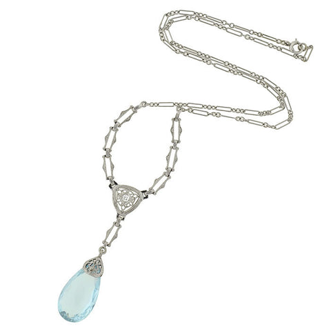 Art Deco 14kt Aquamarine Briolette Diamond Necklace
