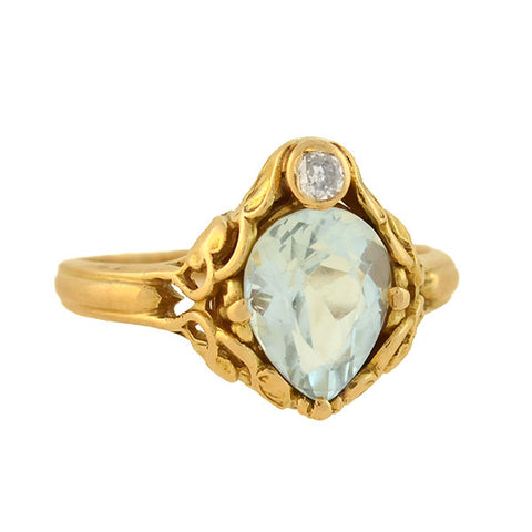 "ALLSOP BROS. Art Nouveau 14kt Aquamarine + Diamond Filigree ""Leaf"" Ring"