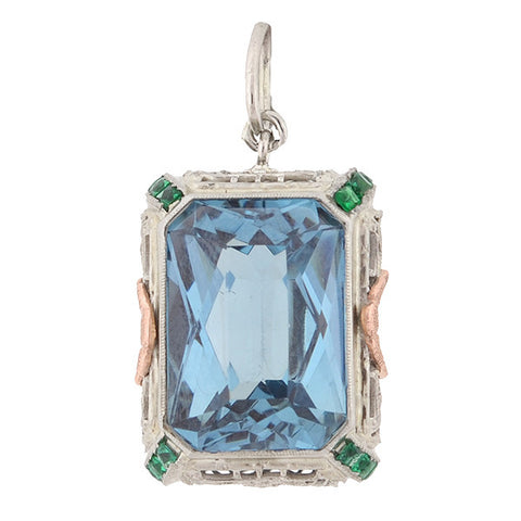 Art Deco 14kt Mixed Metals Blue Topaz & Emerald Pendant