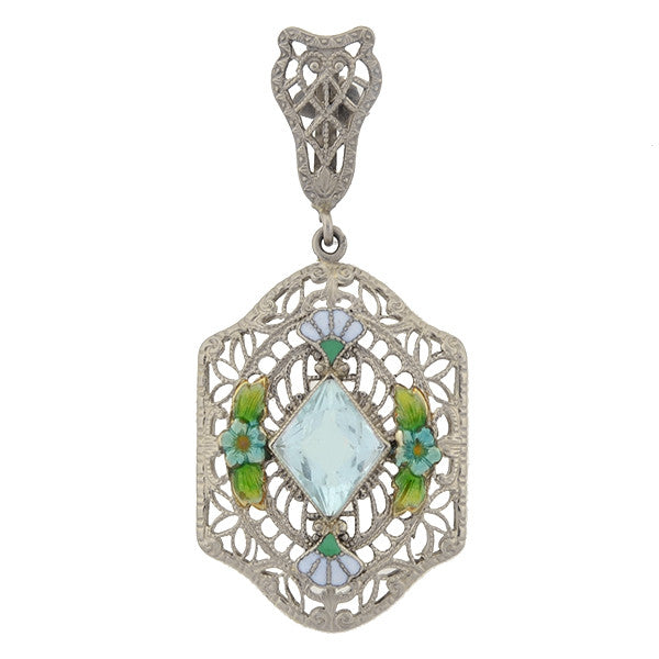 Art Deco 14kt Aquamarine & Enamel Filigree Pendant